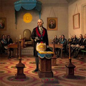 An 1870 Print of George Washington as Master of his Lodge